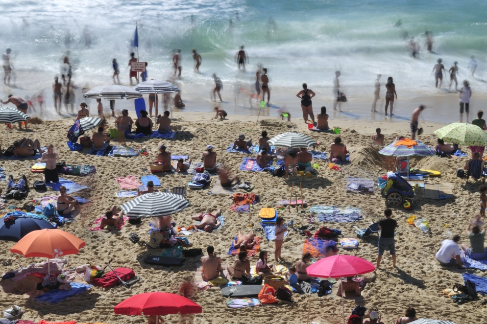 Sunbathing at the Beach of Hourtin-Plage, Aquitaine - France