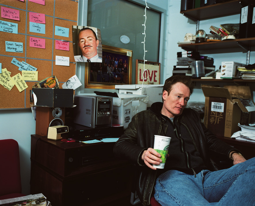 Conan in the head writer's office catching up before rehearsal of the last show.