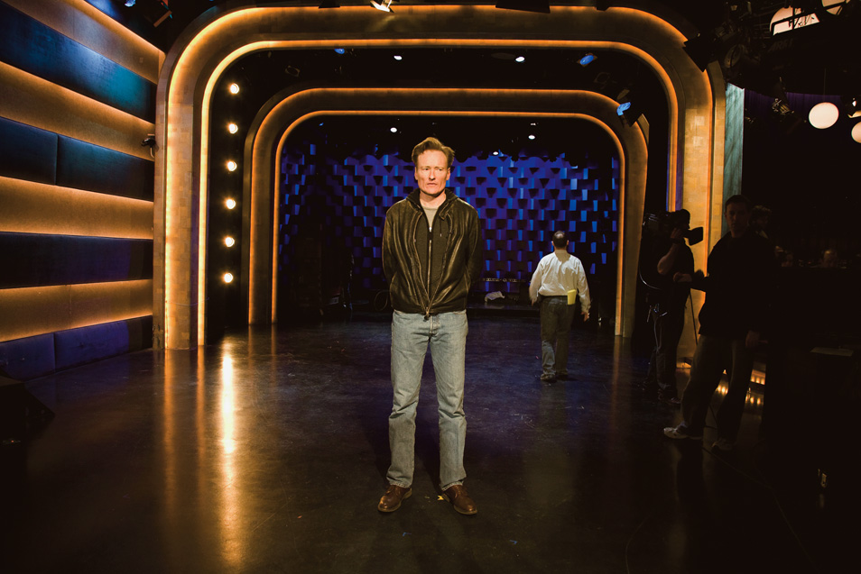 Conan rehearsing his monologue on set of his last day of taping Late Night.