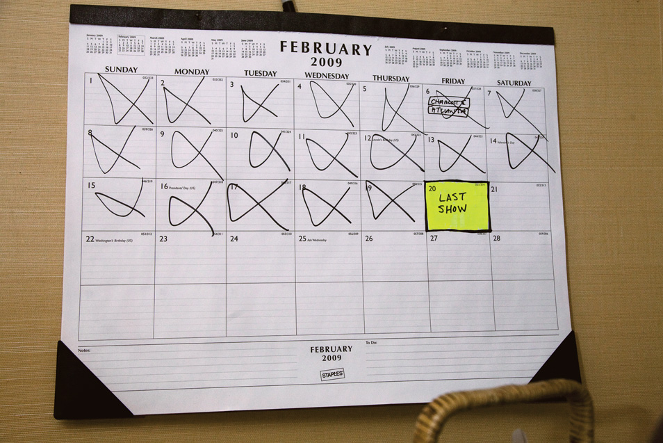 A marked office calender with the countdown to the last show.