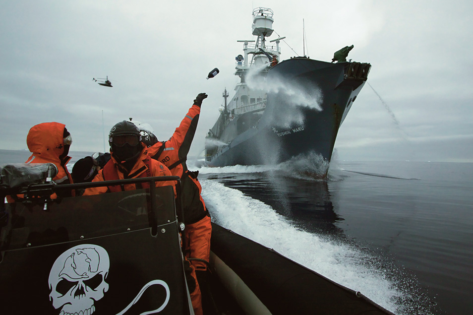 "MV Steve Irwin crew hurl bottles of butyric acid at Japanese harpoon ship, the Yūshin Maru No. 1 during a clash in Antarctica's Ross Sea. ""Rotten butter bombs"" were aimed at the whaling ship's deck in the hope of making work onboard difficult, and tainting meat to be sold at market."