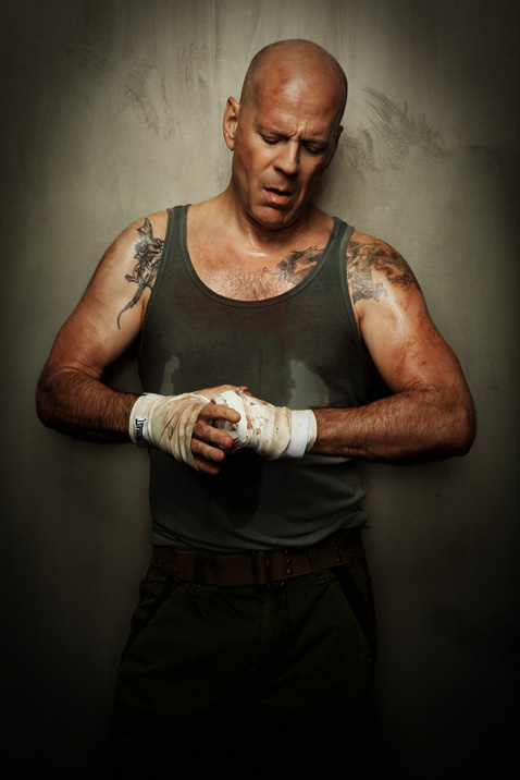 Yippee-ki-yay...! A perturbed Bruce Willis, star of the Die Hard films, photographed by Jim Wright for Men's Health.